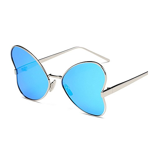 mujer Gafas de borde con sol sol conducir para irregular polarizadas UV estilo Color de Mariposa Gafas Personalidad metal con sol de Protección de para Gafas sol Gafas de Azul Negro de Marco señora YxqUHd7