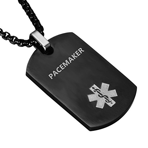 LiFashion LF Stainless Steel PACEMAKER Medical Alert Dog Tag ID Pendant Caduceus Necklace for Men Women Teens Health Alert Monitoring Systems,Black