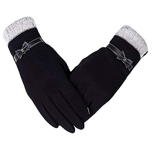 Womens Touch Screen Gloves Thick Fleece Lined Windproof Winter Warm Accessories (Z-Black)