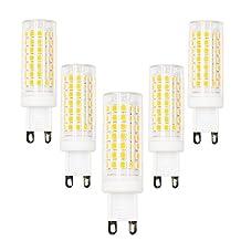 5W G9 Bi-pin Base LED Bulb, Lustaled 120V 360 Degree Beam Angle 50W Halogen Bulbs Equivalent for Interior Lighting, Under-cabinet, Ceiling Fan Light Fixture, Puck Lights (Warm White 3000K, 5-Pack)