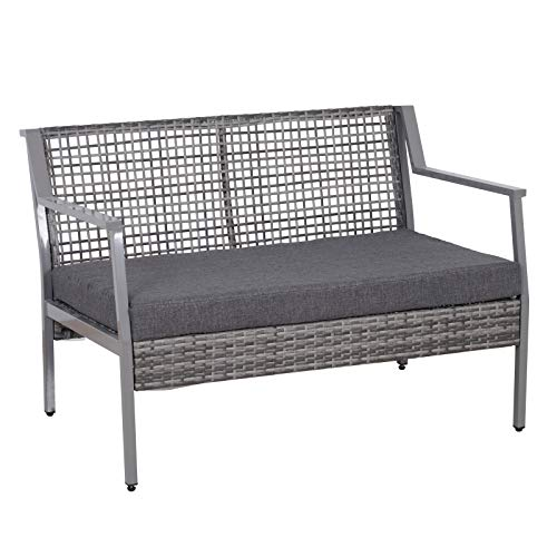 Cushioned Loveseat - Outsunny Aluminum Rattan Wicker Outdoor Patio Cushioned Loveseat Bench - Grey