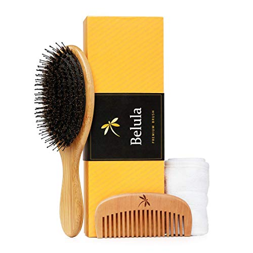(Detangling Boar Bristle Hair Brush Set for Women, Men And Kids With Thick, Long And Curly Hair. Detangles And Restores Shine And Texture To Your Hair. Wooden Comb, Travel Bag & Spa Headband)