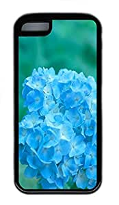 for iphone 6 plus 5.5 Case Blue Flowerss TPU Custom for iphone 6 plus 5.5 Case Cover Black