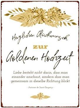 Interluxe Wandschild Metallschild Herzlichen Gluckwunsch Zur Goldenen Hochzeit Ehe Amazon De Kuche Haushalt
