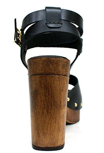 Gaudi Sandalia Mujer Amy Studs Tacòn Cm 12 PL Cm 4 Leather Black Black