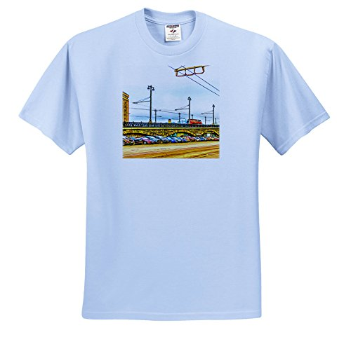 Alexis Photo Art   Moscow City   Line Of Cars By Moscow Large Stone Bridge  Digital Painting   T Shirts   Adult Light Blue T Shirt Medium  Ts 272242 51