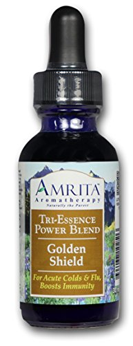 (AMRITA Aromatherapy: Golden Shield Tri-Essence Power Blend; All Natural Herbal Extracts, Flower Essences & Pure, Therapeutic Grade Essential Oils of Yarrow, Myrrh & Thyme Thujanol -Size: 30ML)