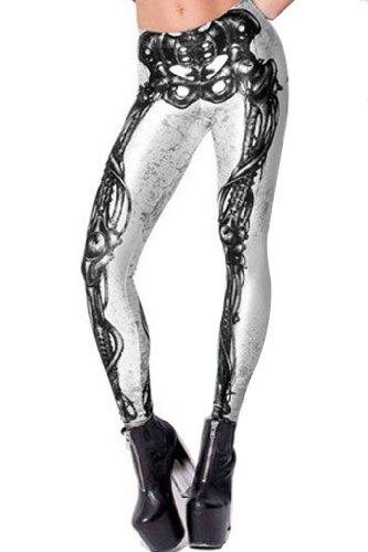 Lady Stylish Black Milk Mechanical Bones White Leggings Skinny Tights Trousers