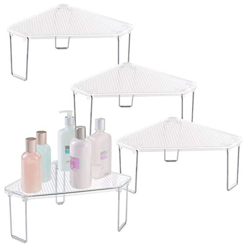 mDesign Corner Plastic/Metal Freestanding Stackable Organizer Shelf for Bathroom Vanity Countertop or Cabinet for Storing Cosmetics, Toiletries, Facial Wipes, Tissues, 4 Pack - Clear