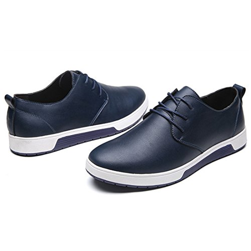 Xmwealthy Mens Style Britannique Respirant Robe Plate Chaussures Mode Sneakers Blue02