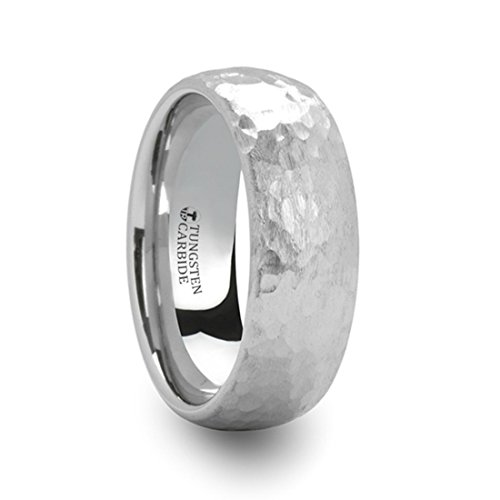 CHANDLER Hammered Finish Domed White Tungsten Ring - 8mm Wide Band with Free Custom Engraving Personalized from Thorsten by Roy Rose - Wedding Hammered Domed Band