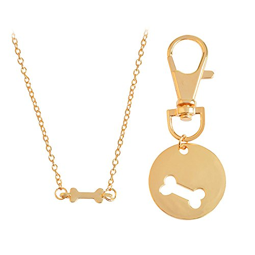 Meiligo Fashion 2 Pcs Best Friends Friendship Gold Silver Dog Bone Charm Tag Necklace Key Chain Owner and Dog Jewelry matching Pet Collar Key chain Pendant (Gold(2pcs))
