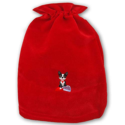 Christmas Chocolate Boston Terrier Drawstring Gift Bags 1 Pack, Santa Sack for Party Favors and Candy