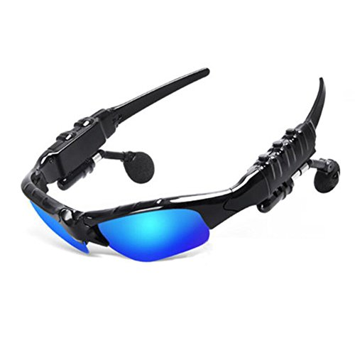 Bluetooth 4.1 Music Anti-ray Sunglasses with Stereo Support both headset and hands-free (black, Polarized light blue)