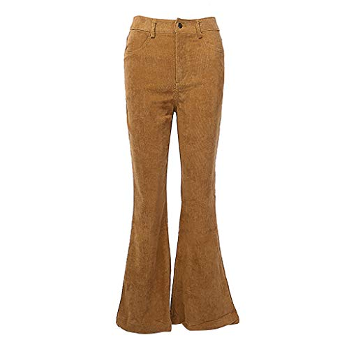 (Suma-ma Womens Corduroy Flare Long Pants, Ladies Solid Color High Waisted Casual Trousers Fashion Slim Fit Pockets Pant(Brown,M))