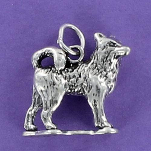 Husky Dog Charm Sterling Silver for Bracelet Pet Siberian Sled Dog Malamute - Jewelry Accessories Key Chain Bracelets Crafting Bracelet Necklace Pendants