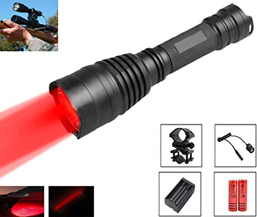 WindFire 350 Lumens Waterproof Led Flashlight 250 Yard Long Range Red LED Hunting Light Torch with Remote Pressure Switch, Barrel Mount, 2PCS 18650 Rechargeable Battery and Charger