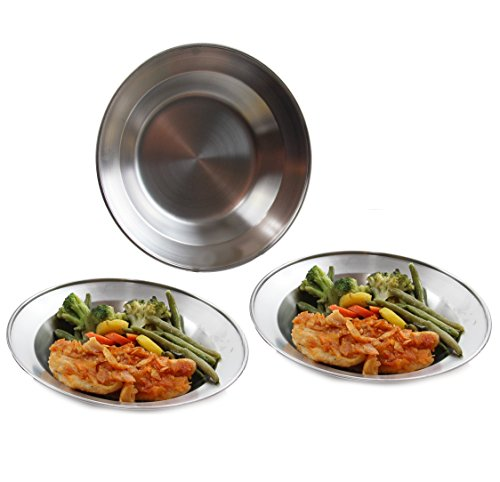 Steel Stainless Set Dinner - Wealers 8.5 Inch Stainless Steel Round Plate Set for Camping Outdoor with a Mash Carry Bag (Set of 3)