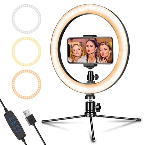 JUTEK® Ring Light with Tripod Stand 10″ inch LED Light 3 Color Modes 10 Levels Brightness Dimmable Lighting for YouTube Photo-Shoot Live Stream Makeup Videos Compatible All Mobile Phones & Cameras