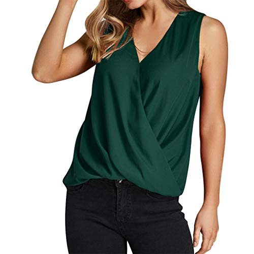 Qingell Women Summer Solid Cross Sleeveless Halter Twisted Pleated Casual Tank Top Blouse ()