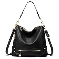 Genuine Leather Handbags for Women Large Designer Ladies Shoulder Bag Bucket Style [ Black ]