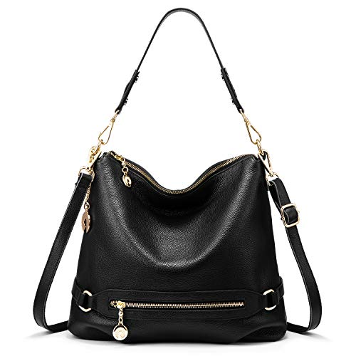 - Genuine Leather Handbags for Women Large Designer Ladies Shoulder Bag Bucket Style [ Black ]