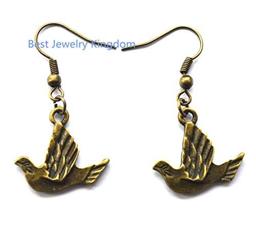 Mockingbird Costume For Sale (Bird earrings, long earrings,bronze earrings, dangle earrings, nature lover gift, kidney ear wires,Jewelry Bird Earrings Bronze Earrings Animal Earrings)