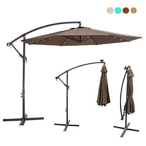 10ft Deluxe Solar Power Outdoor Patio Umbrella – Offset Cantilever Sun Umbrella, Hanging Shade Umbrella w/32 LED Lights | Crank Lift System | Cross Base with Heavy Duty 250g/sqm Polyester PA Coating