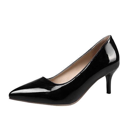 SexyPrey Women's Pointed Toe Slip On Kitten Heels Party Wedding Court Shoes Black O2L0Gblwfy