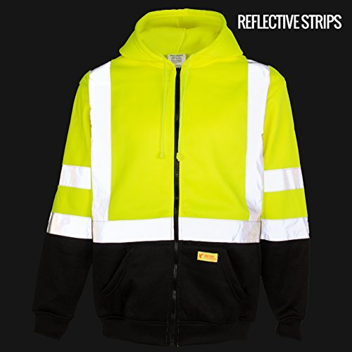 New York Hi-Viz Workwear H9012 Men's ANSI Class 3 High Visibility Class 3 Sweatshirt, Full Zip Hooded, Lightweight, Black Bottom (XX-Large) by New York Hi-Viz Workwear (Image #3)