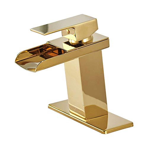 Homevacious Gold Bathroom Faucet Waterfall Single Handle Bath Tub Modern Lavatory Sink Vanity Basin Faucets One Hole Lever Mixer Tap Deck Mount Gold Brass Supply Hose Commercial Cupc Lead-Free