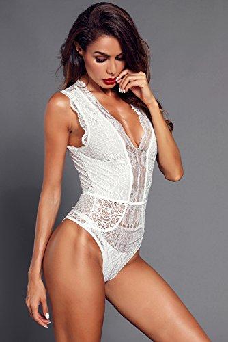 Top Pizzo Body Bodysuit Elegante Collo Blusa V Abbigliamento Donna Camicie Tuta Vintage MASHIKOU Bianco Estivi FHPqCHw