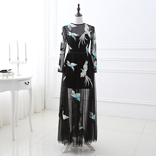 Tulle BessWedding Dress Black Evening Black Sleeves Long Women's Embroidery qwI7xwZf6