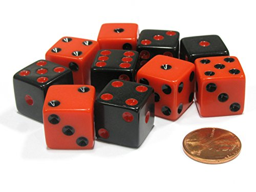 Set of 10 Six Sided Square Opaque 16mm D6 Dice - Inverse Black and Red by Koplow Games