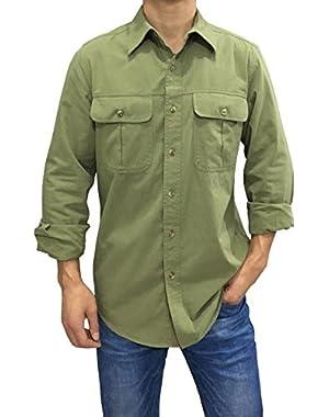 Men's Cotton Casual Long Sleeve Work Shirts