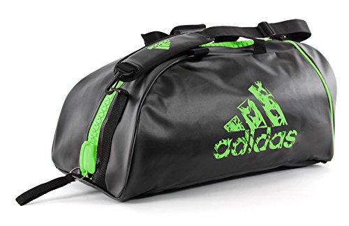 """adidas """" 2 in 1 """" PU KUNSTLEDER schwarz NEON GRÜN - Größe M - Tasche & Rucksack 65 x 32 cm Sportrucksack und Sporttasche Trainingstasche Rucksacktasche Kombitasche Sport Bag"""