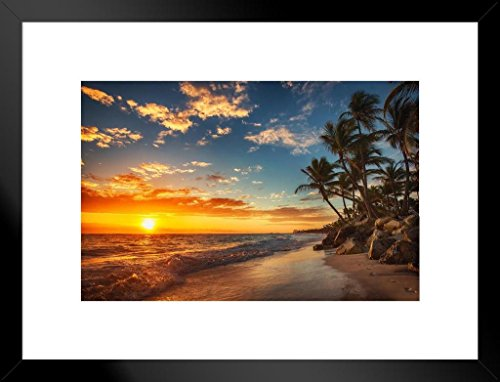 Poster Foundry Sunrise Over Tropical Beach Palm Tree Ocean Photo Matted Framed Art Print Wall Decor 26×20 inch