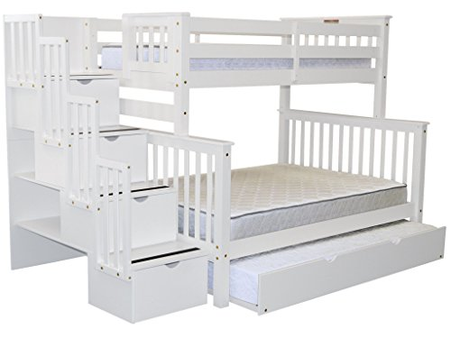 Bedz King Stairway Bunk Beds Twin over Full with 4 Drawers in the Steps and a Twin Trundle, White (Bed Twin Twin Over Bunk White)
