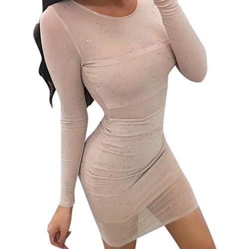 iDWZA Womens Mesh Lace Bodycon Ladies Long Sleeve Short Party Clubwear Mini Dress(Beige,M) -