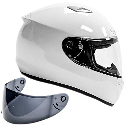 Snell M2015 Approved Full Face Motorcycle Helmet (XL - White)