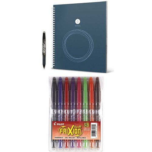 rocketbook-wave-smart-notebook-and-pilot-frixion-ball-erasable-gel-pens-fine-point-8-pack-pouch-blac