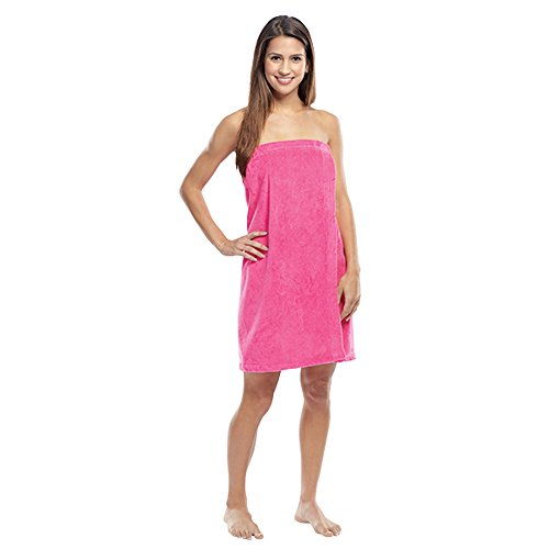 Luna Bianca Women's Terry Velour Cotton Super Absorbent Spa/Body Wrap (1 Wrap, Hot Pink) by Luna Bianca