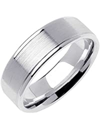 14k white gold traditional top flat mens comfort fit wedding band 7mm - Amazon Wedding Rings