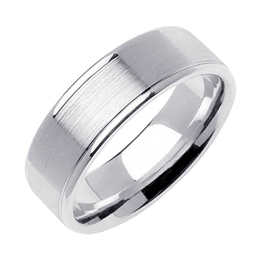 14K White Gold Traditional Top Flat Men's Comfort Fit Wedding Band (7mm) Size-9c1