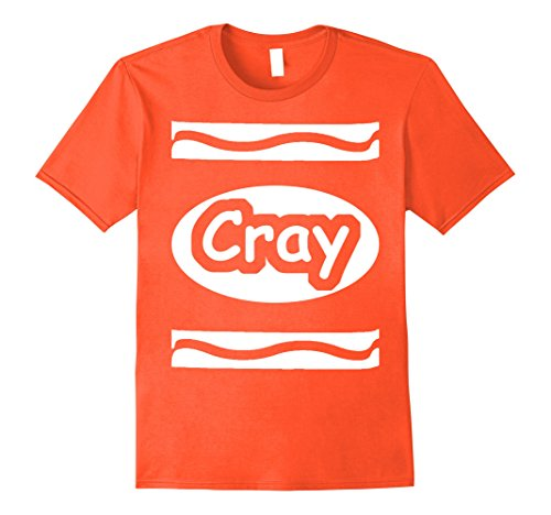 Mens Color Me Cray Easy Crayon Costume Funny Halloween T-Shirt 2XL Orange (Play On Words Halloween Costumes For Groups)