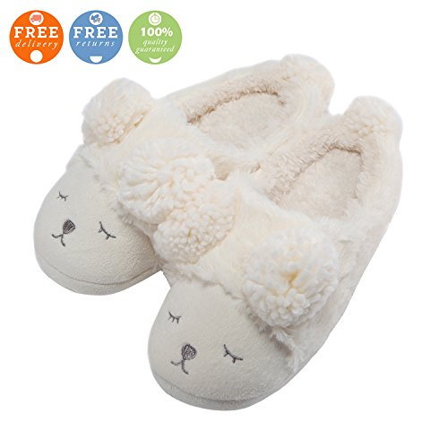 MiYang Warm Indoor Slippers For Women Fleece Plush Bedroom House Shoes Non Slip Winter Boots White(open-back)
