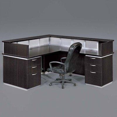 Pimlico Right L-Shape Reception Desk Finish: Walnut - Software Pimlico