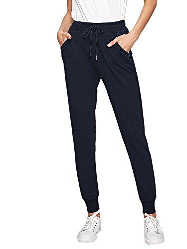 SweatyRocks Women's Casual Solid Sweatpants Yoga Workout Athletic Joggers Pants with Pockets Navy L