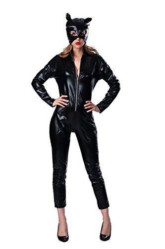 Dantiya Women's Halloween Costume Patent Leather Siamese Motorcycle Dress Sexy Catwoman Uniform Jumpsuit (XL) ()