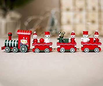 Xmas Wooden Christmas Train Santa Claus Festival Ornament Home Decor Kids Gift P
